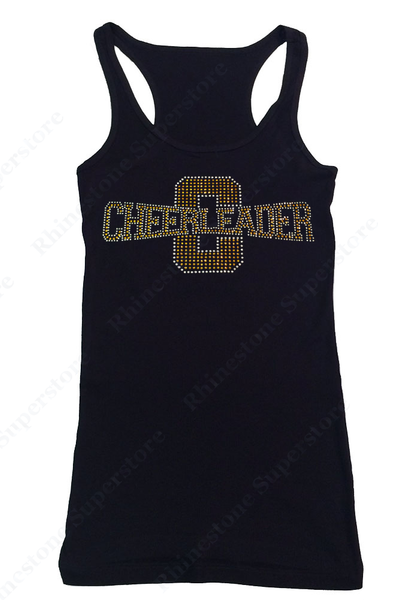 Womens T-shirt with Gold Cheerleader in Rhinestones
