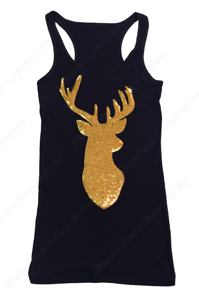 Womens T-shirt with Gold Reindeer in Sequence