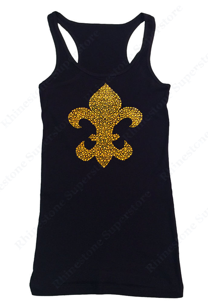 Womens T-shirt with Gold Fleur De Lis in Rhinestuds