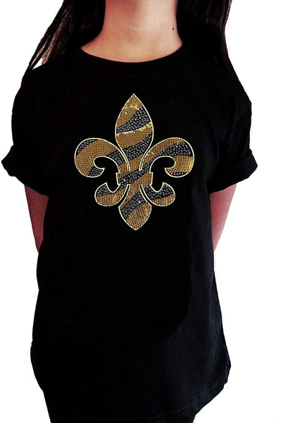 Gold Sequins and Rhinestones Fleur de Lis