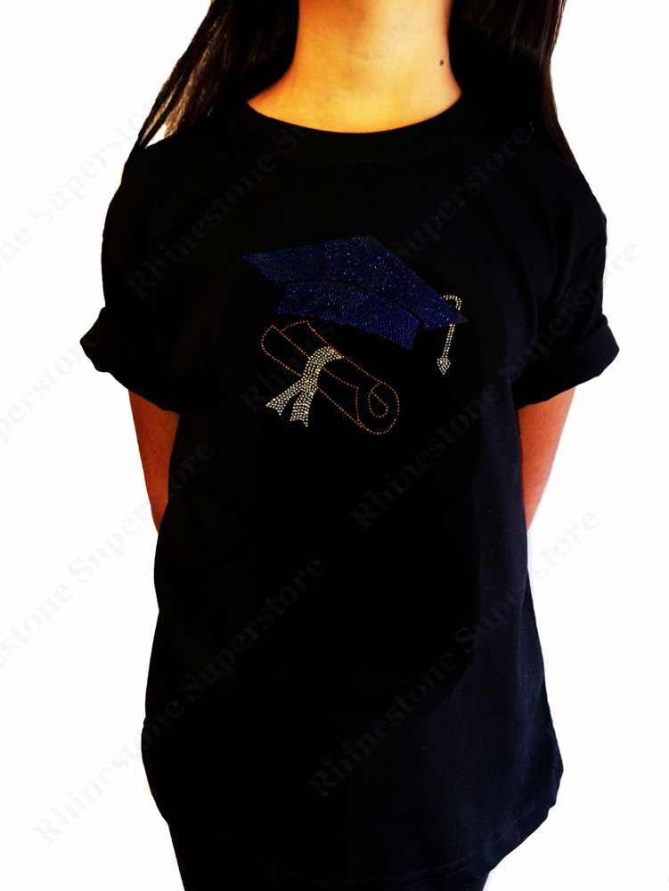 "Girls Rhinestone T-Shirt "" Graduation Cap and Diploma "" Kids Size 3 to 14 Available"