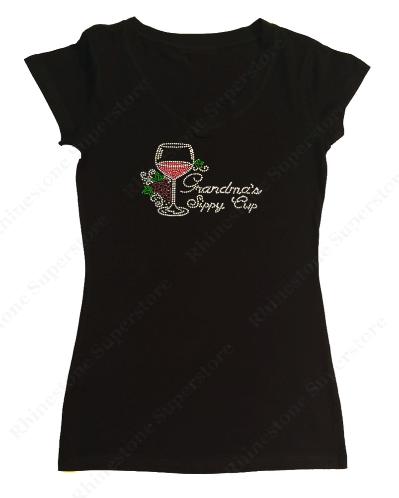 Womens T-shirt with Grandma's Sippy Cup in Rhinestones