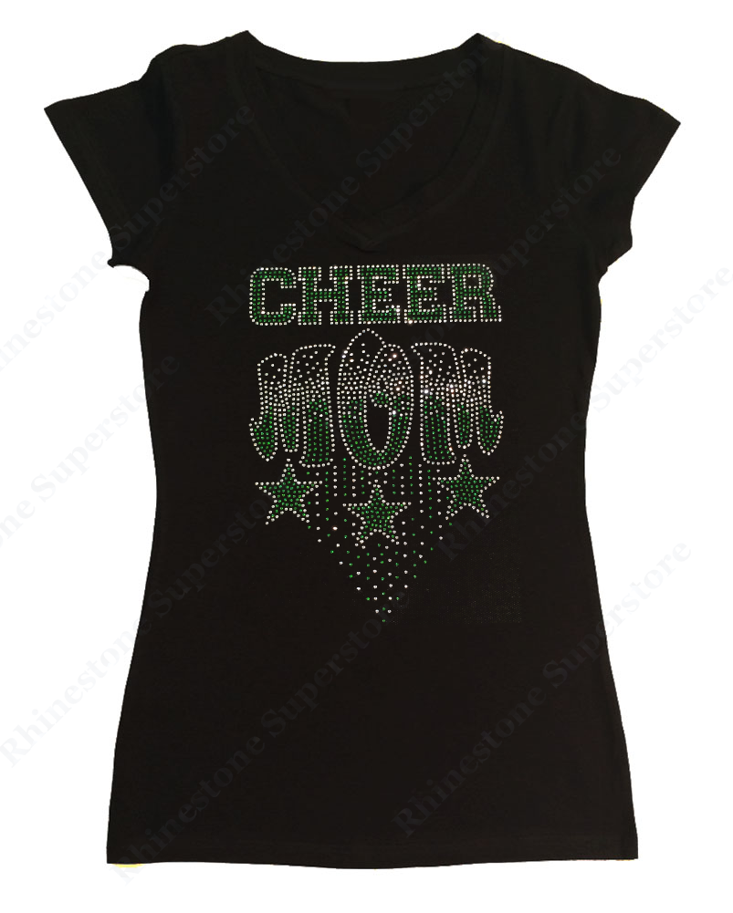 Womens T-shirt with Green Cheer Mom with Stars in Rhinestones