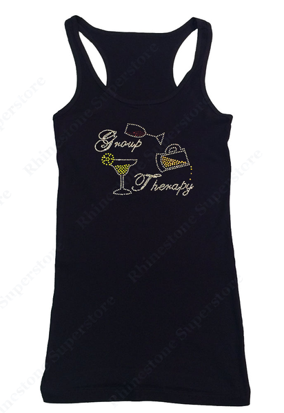 Womens T-shirt with Group Therapy with Wine Beer Drink in Rhinestones