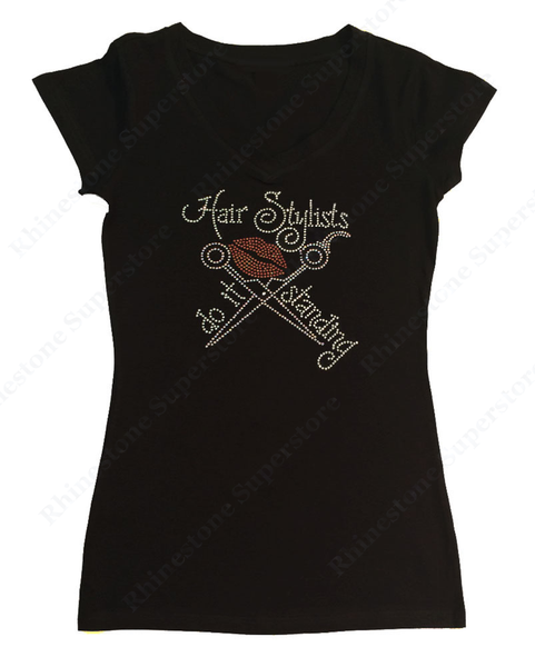 Womens T-shirt with Hair Stylists Do It Standing in Rhinestones