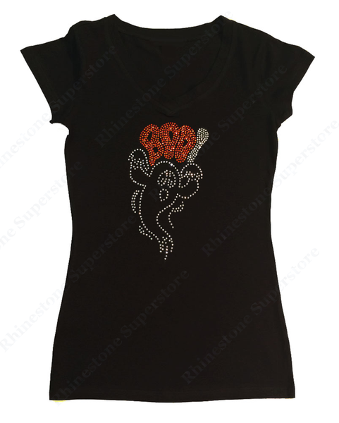 Womens T-shirt with Halloween Ghost Boo in Rhinestones