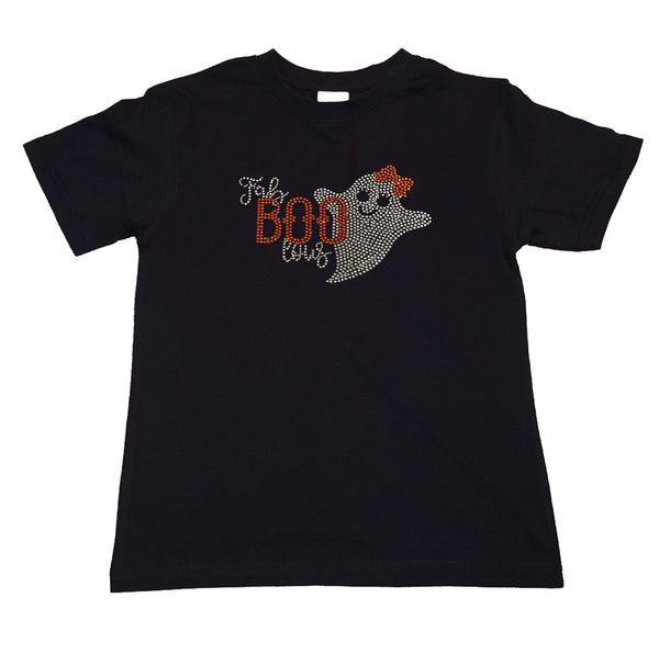 "Girls Rhinestone T-Shirt "" Halloween Ghost Fab Boo lous in Rhinestones "" Kids Size 3 to 14 Available"