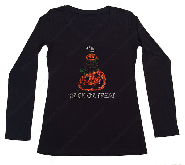 Womens T-shirt with Halloween Pumpkins with Trick or Treat in Rhinestones