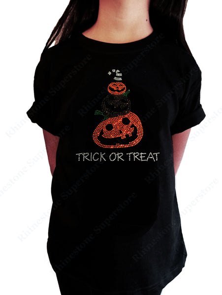 "Girls Rhinestone T-Shirt "" Halloween Pumpkins with Trick or Treat "" Kids Size 3 to 14 Available"
