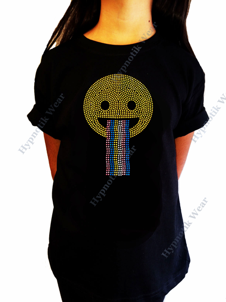 "Girls Rhinestone T-Shirt "" Happy Face with Rainbow "" Kids Size 3 to 14 Available"