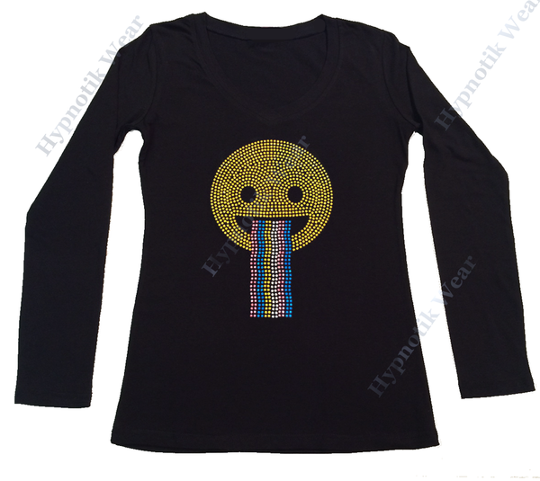 Womens T-shirt with Happy Face with Rainbow in Rhinestuds