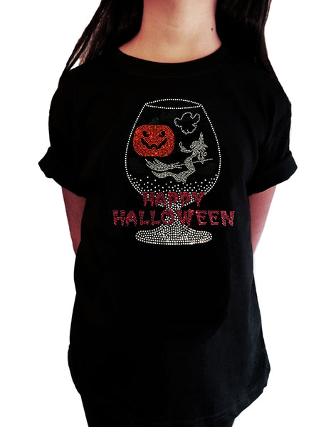 "Girls Rhinestone T-Shirt "" Happy Halloween Cup with Pumpkin , Witch in Rhinestones in Rhinestones """