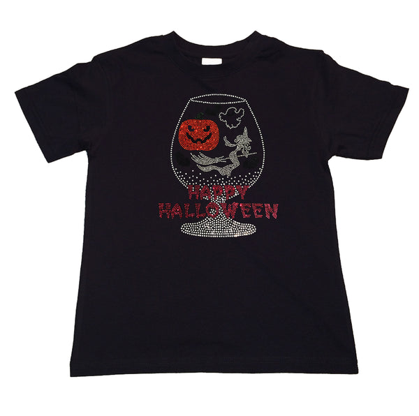 "Girl's Rhinestone T-Shirt "" Happy Halloween Cup with Pumpkin & Witch  """