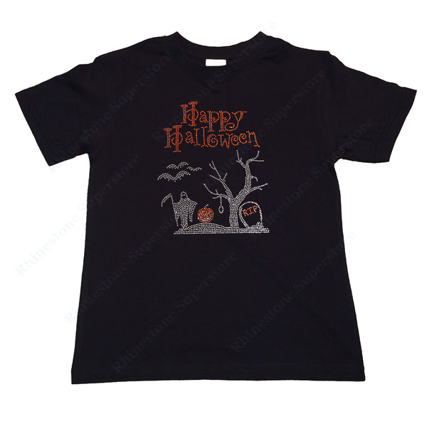 "Girls Rhinestone T-Shirt "" Happy Halloween Graveyard Scene "" Kids Size 3 to 14 Available"