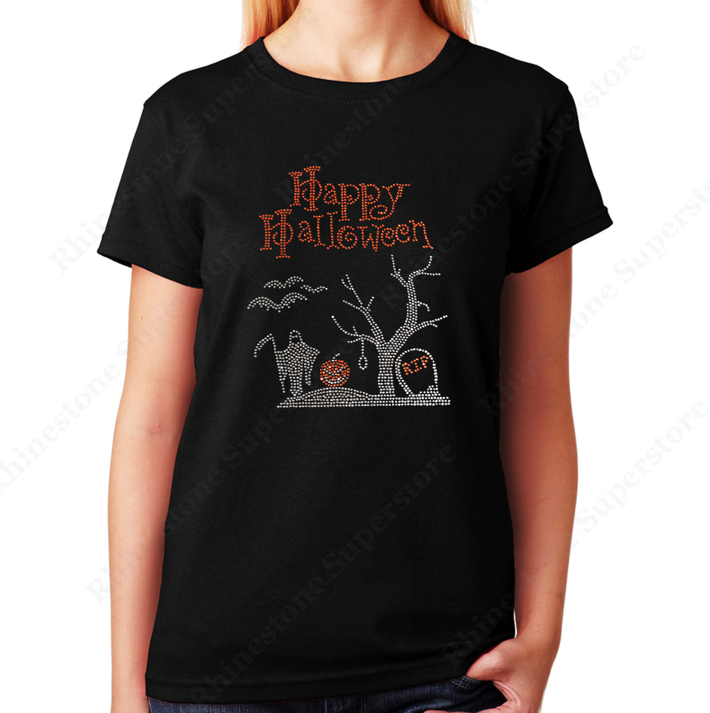Women's / Unisex T-Shirt with Happy Halloween Graveyard Scene in Rhinestones