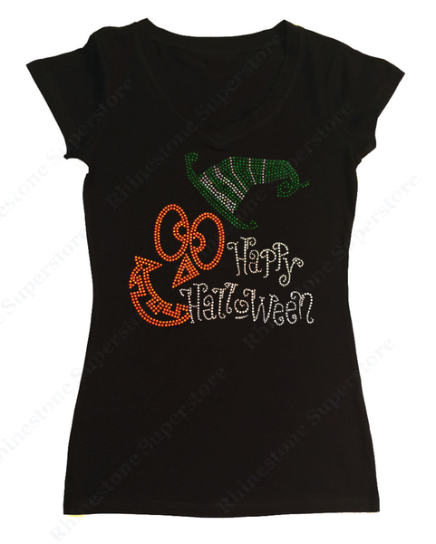 Womens T-shirt with Happy Halloween with Jack O' Lantern Face in Rhinestones