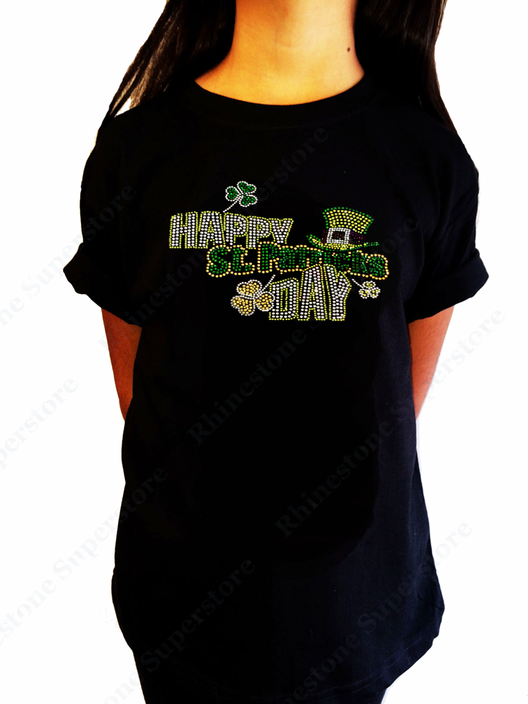 "Girls Rhinestone T-Shirt "" Happy St Patricks Day "" Size 3 to 14 Available"