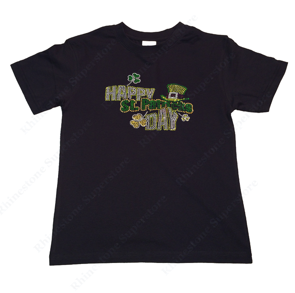 "Girls Rhinestone T-Shirt "" Saint Patrick's Day Top Hat with Clover "" Size 3 to 14 Available"