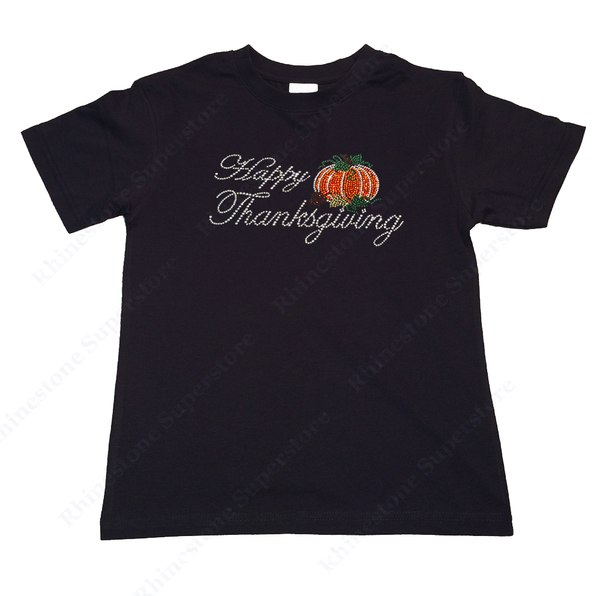 "Girls Rhinestone T-Shirt "" Happy Thanksgiving with Pumpkin "" Kids Size 3 to 14 Available"