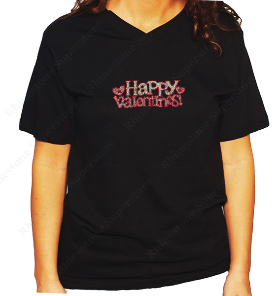 Women's / Unisex T-Shirt with Happy Valentines with Hearts in Rhinestones