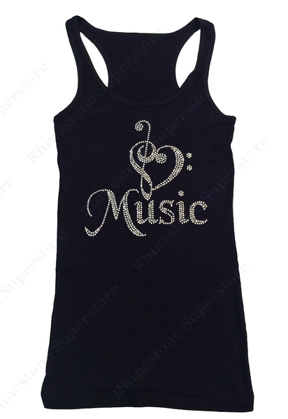 Womens T-shirt with Heart Music Note in Rhinestones