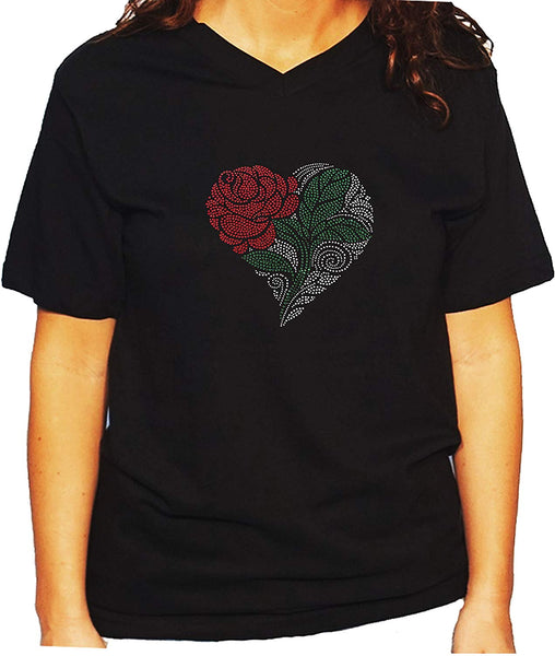 Women's / Unisex T-Shirt with Heart With Rose and Green Leaf In Rhinestones