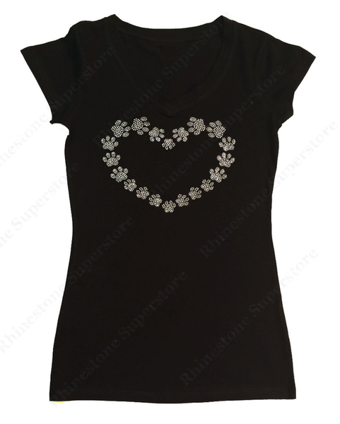 Womens T-shirt with Heart Made with Paws in Rhinestones