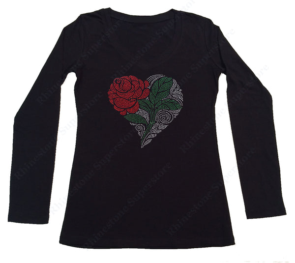 Womens T-shirt with Heart with Rose and Green Leaf in Rhinestones