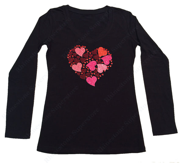 Womens T-shirt with Hearts Collage in Rhinestones and Glitters