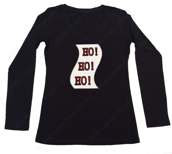Womens T-shirt with Ho Ho Ho Christmas List in Sequence