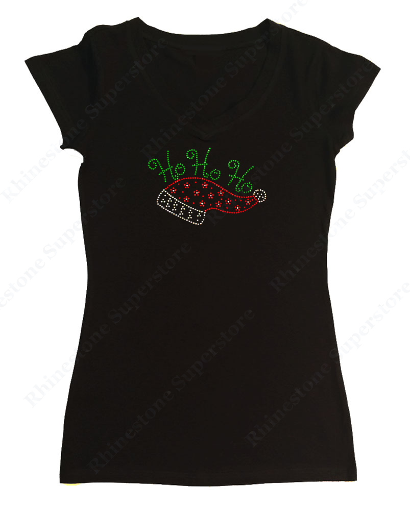 Womens T-shirt with Ho Ho Ho with Santa Hat in Rhinestones