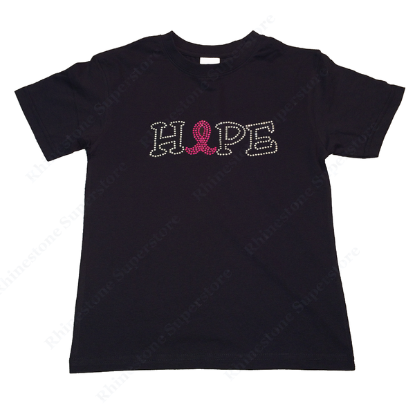 "Girls Rhinestone T-Shirt "" Hope Cancer Ribbon "" Kids Size 3 to 14 Available"