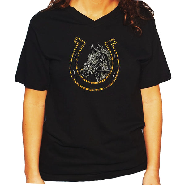 Women's / Unisex T-Shirt with Horse and  Lucky Horseshoe - Equestrian in Rhinestones
