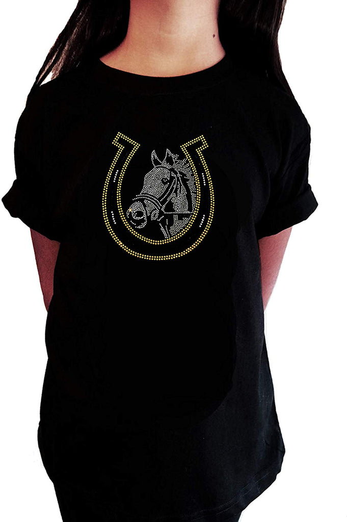 "Girls Rhinestone T-Shirt "" Horse and Lucky Horseshoe - Equestrian in Rhinestones "" Kids Size 3 to 14 Available"