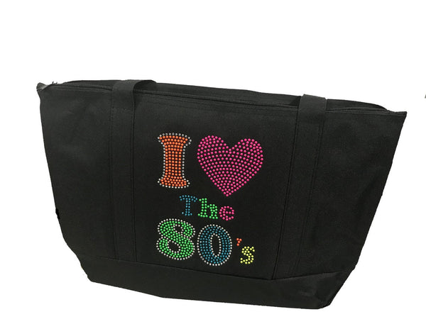 "Rhinestone Sturdy Tote Bag with Zipper & Front Pocket "" I Love the 80's "" Iron, On, Hotfix Bling Neon Colors"