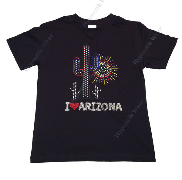 "Girls Rhinestone T-Shirt "" I Love Arizona "" Kids Size 3 to 14 Available"