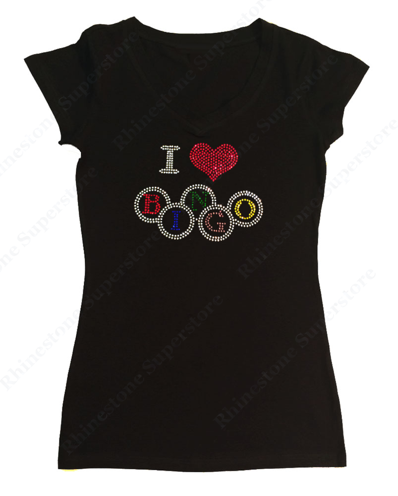 Womens T-shirt with I Love Bingo in Rhinestones