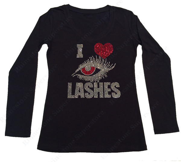 Womens T-shirt with I Love Eye Lashes in Rhinestones