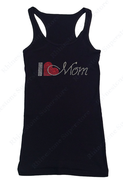 Womens T-shirt with I Love Mom in Rhinestones