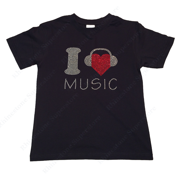 "Girls Rhinestone T-Shirt "" I Love Music with Headphones "" Size 3 to 14 Available"