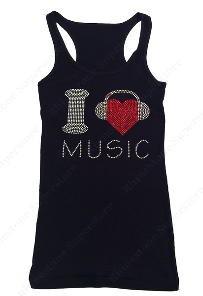 Womens T-shirt with I Love Music with Headphones in Rhinestones