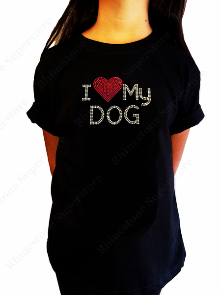 "Girls Rhinestone T-Shirt "" I Love My Dog "" Kids Size 3 to 14 Available"