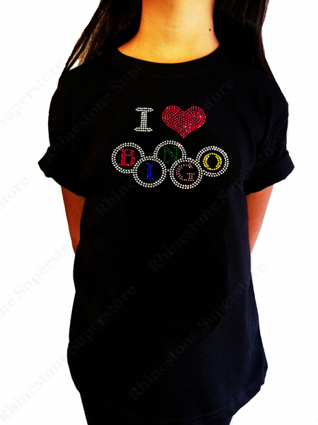"Girls Rhinestone T-Shirt "" I Love Bingo "" Kids Size 3 to 14 Available, Colorful Bling"