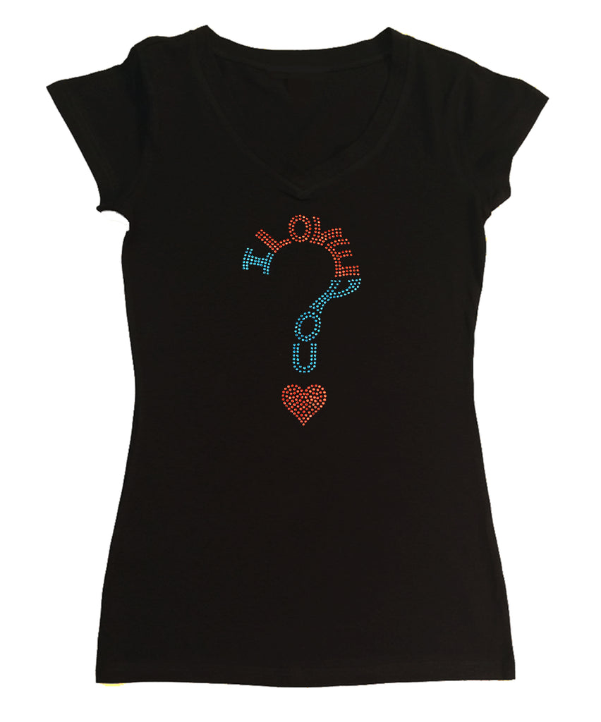 Womens T-shirt with I Love you in Rhinestuds