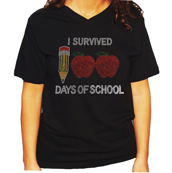 Women's / Unisex T-Shirt with I Survived 100 Days of School in Rhinestones