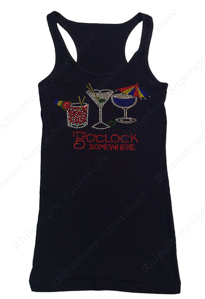 Womens T-shirt with It's 5 O'clock Somewhere in Rhinestones