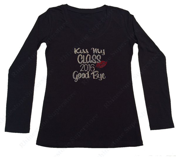 Womens T-shirt with Kiss My Class 2016 Good Bye in Rhinestones