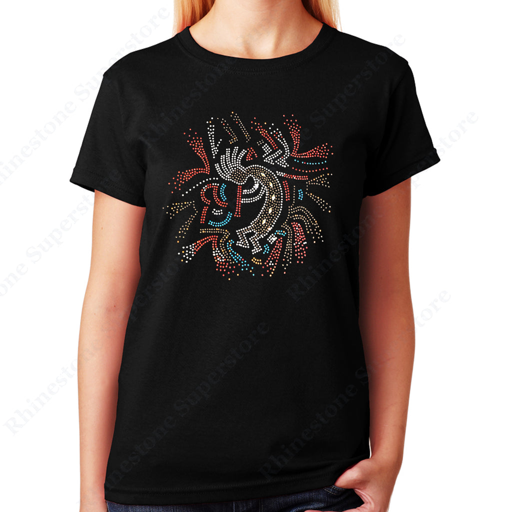 Kokopelli Playing Flute in rhinestones unisex