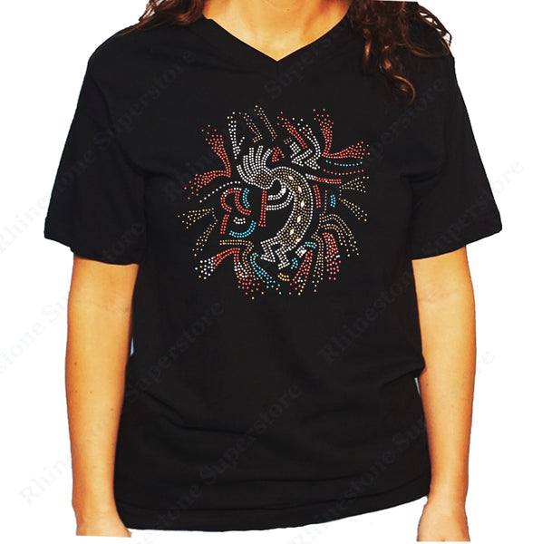 Women's / Unisex T-Shirt with Kokopelli Playing Flute in Rhinestones