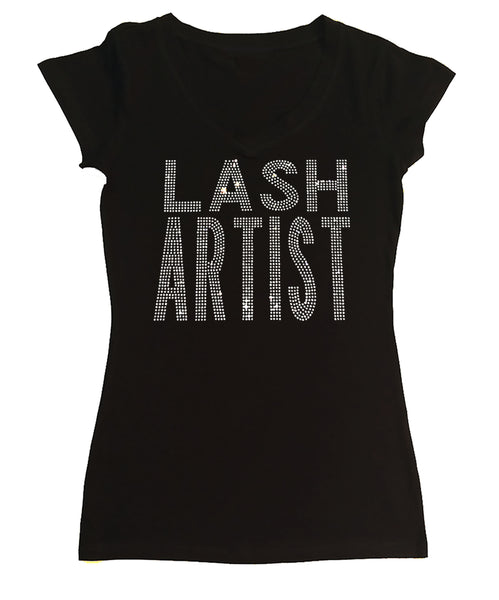 Womens T-shirt with Lash Artist in Rhinestones